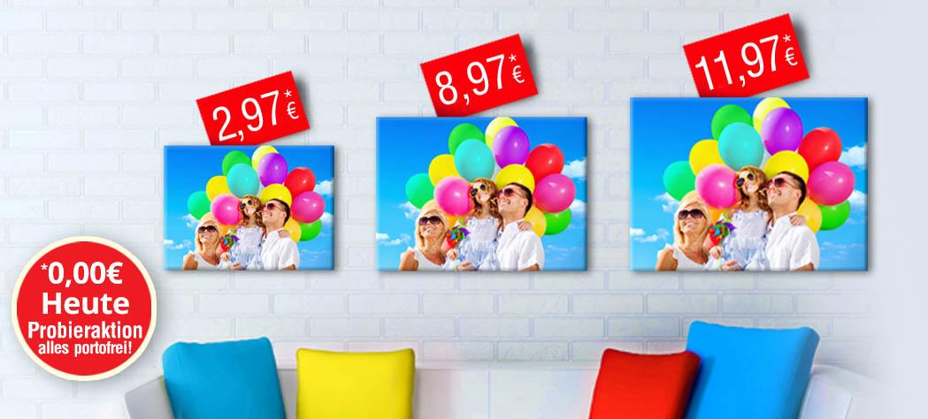 Foto-Leinwand 20x20cm für 2,97 Euro oder 30x20cm für 3,97 Euro incl. Versand - postersmile.de