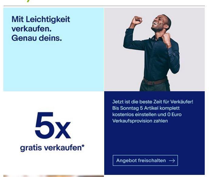 Ebay 5x 0€ Angebotsgebühr + 0€ Verkaufsprovision (nur eingeladene Verkäufer)