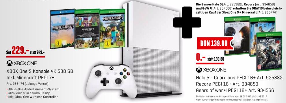 [Schweiz Interdiscount Offline] Xbox One S 500 GB + Minecraft, GoW 4, Halo 5 und Recore für 229 CHF