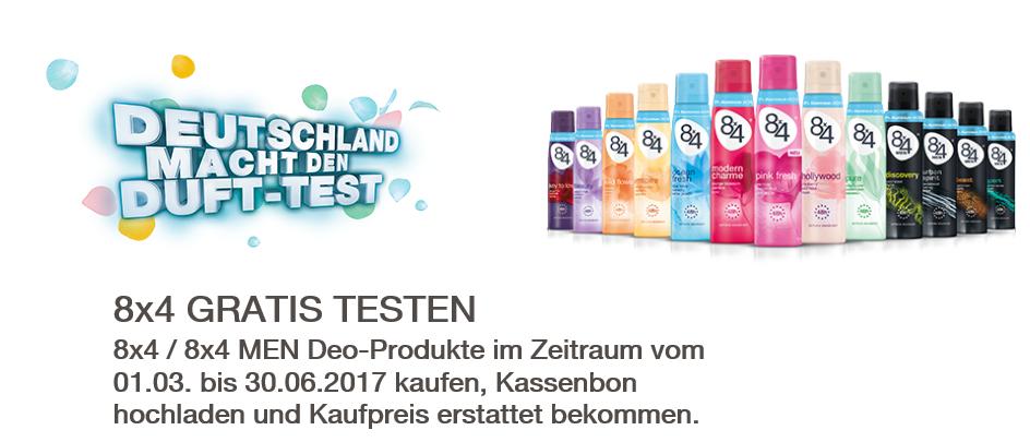 Bis zu drei  8x4 DEO-Produkte gratis testen