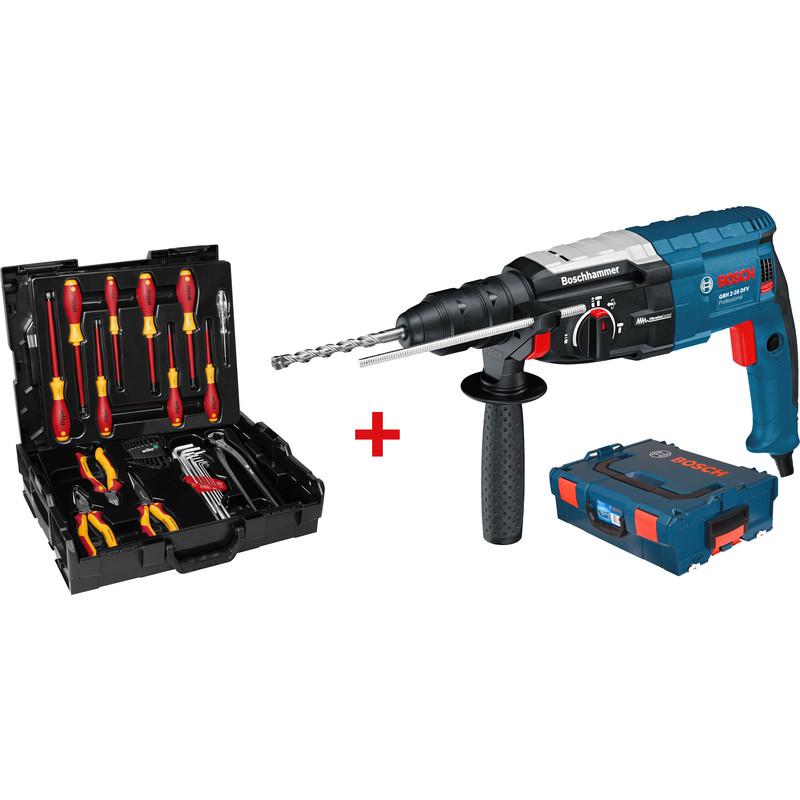 (Toolstation) Bosch Professional GBH 2-28 F Bohrhammer L-Boxx,  SDS-Plus-Wechselbohrfutter und Schnellspannbohrfutter, Griff + Tiefenanschlag + Wiha VDE Set L-Boxx