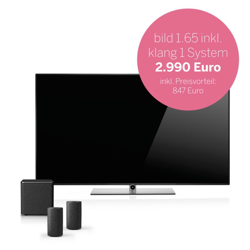 Loewe Bild 1.65 [120Hz] 65 Zoll UHD HDR HLG 3D Smart TV und 2.1 klang 1 System