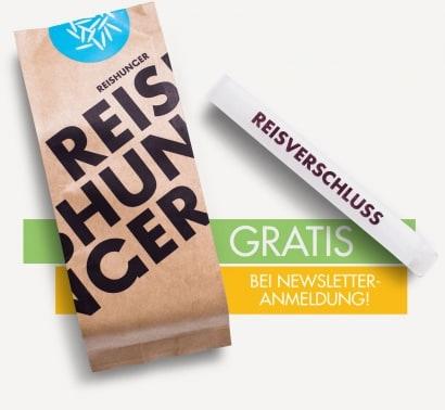 200 Gramm Reis gratis für Newsletteranmeldung!