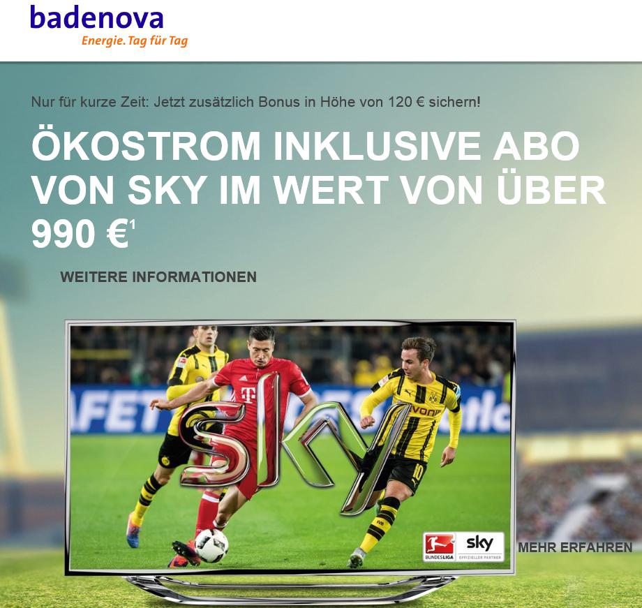 Verlängert bis 19.05.17: badenova Ökostrom 24 + Sky Starter + 1 Premiumpaket inkl. 300 Euro Sofortbonus