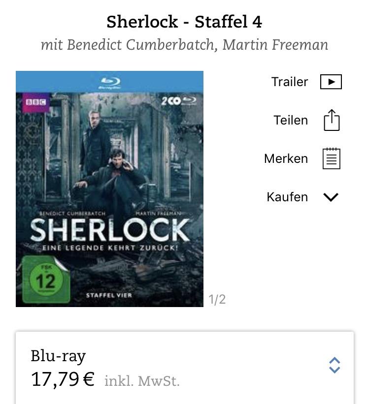 Sherlock Staffel 4 (Blu-ray) vorbestellen 14,23 € evtl. + VSK (=17,23€) [Thalia.de App]