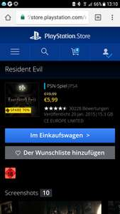 Resident Evil PSN Store Playstation 4