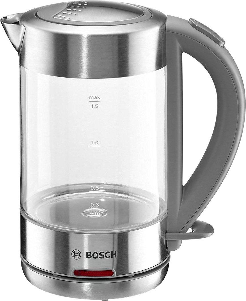 [Idealo Direktkauf - Schmaussshop] Bosch TWK7090 Glas Wasserkocher, 1-Tassen-Funktion, Dampfstopp-Automatik, entnehmen Kalkfilter, 2200 W, edelstahl / hellgrau