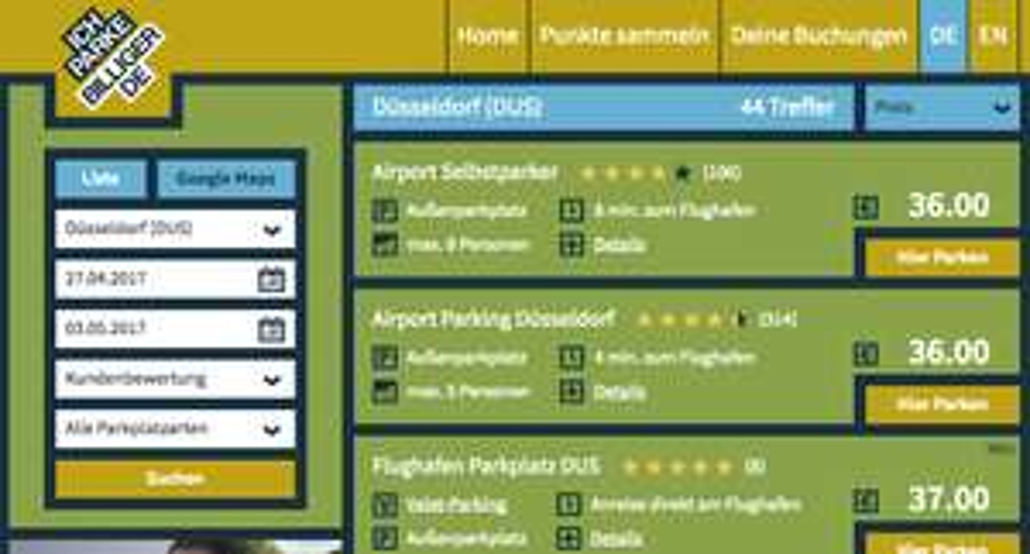 10 % Rabatt auf Parkplätze in der Nähe vom Flughafen (Flugreise)