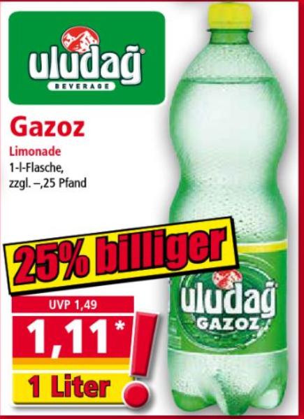 Norma - 1 Liter Uludag Gazoz für 1,11 € (zzgl. Pfand)