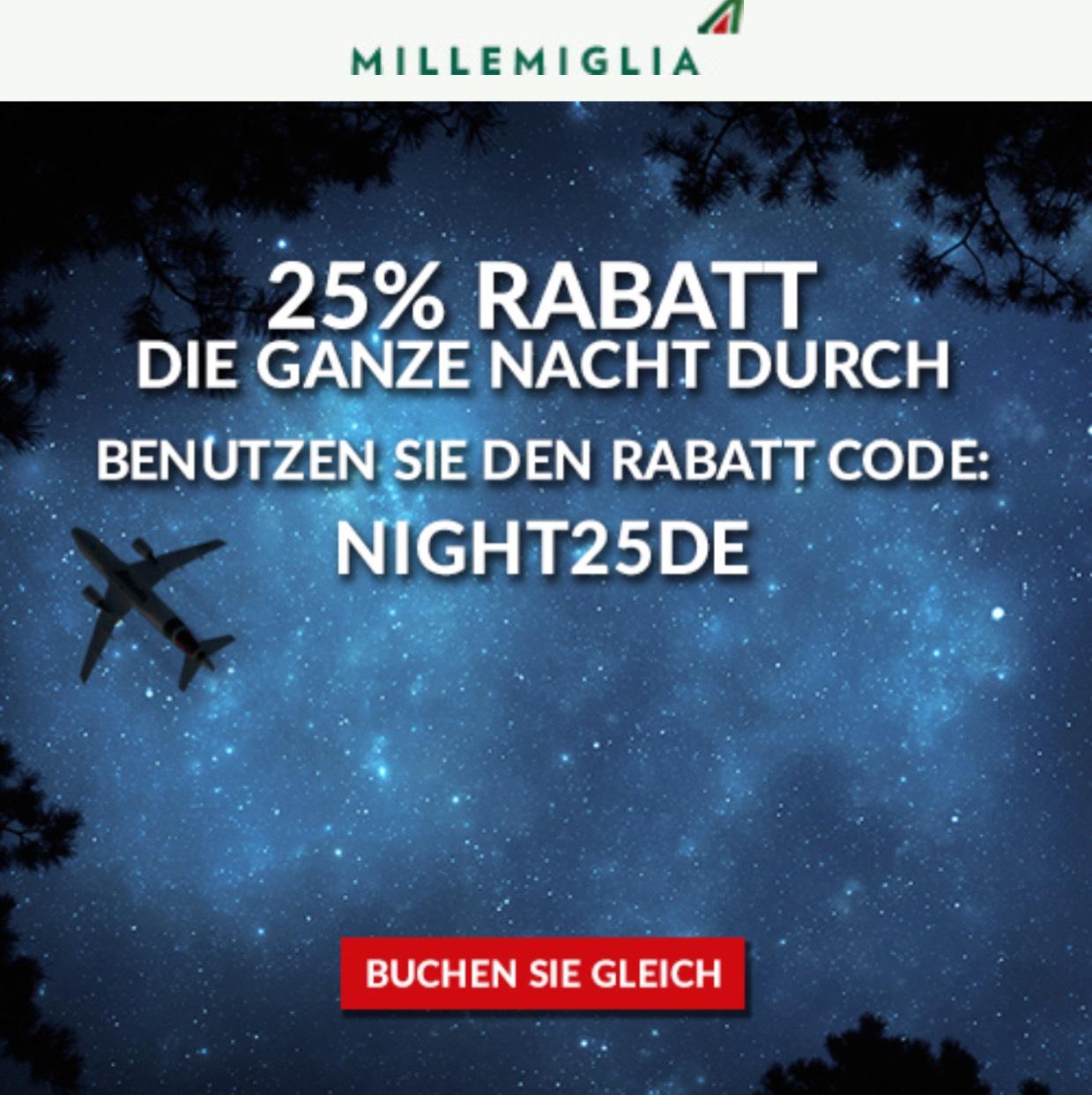 25% auf Alitalia heute
