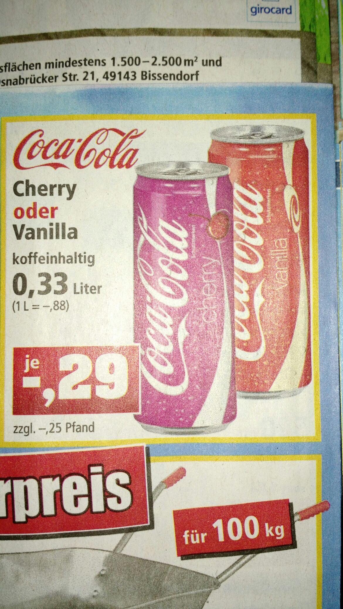 [Thomas Philipps bundesweit] Coca-Cola Vanille oder Cherry 0,33l Dose für 0,29€
