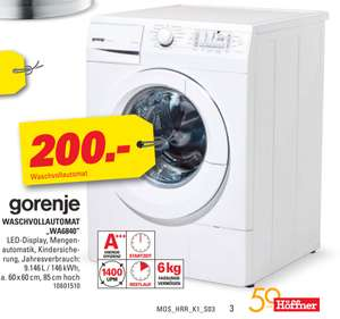 (Neuss, Köln ...) Waschmaschine GORENJE WA6840 (6 kg, 1400 U/Min., A+++)