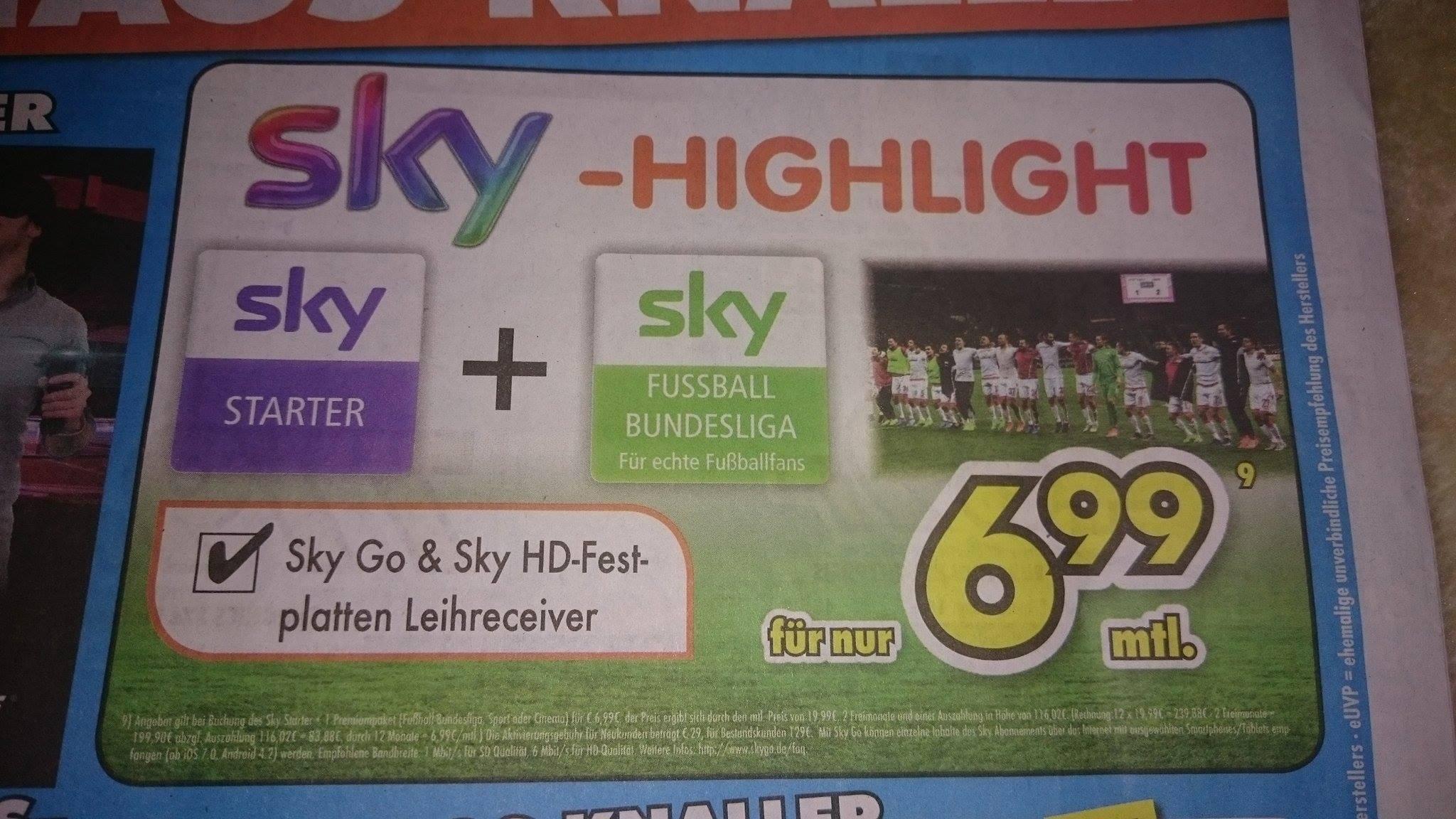 Sky Starter + 1 Wunschpaket nur am 14.05.2017 für 6,99€ mtl. (Lokal Kamen)