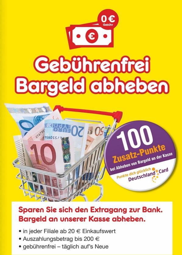 [Netto-MD] 100 Punkte auf eure DeutschlandCard fürs Geld abheben an der Kasse
