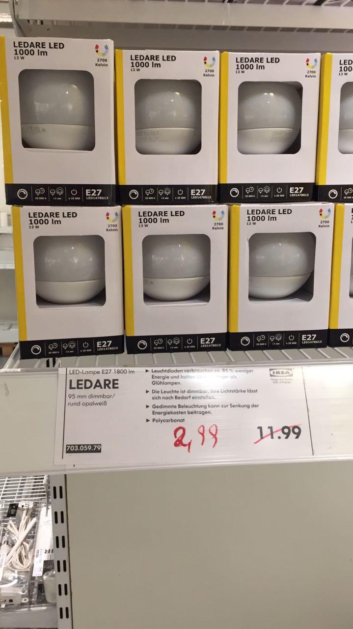 """Lokal Bielefeld [IKEA] LED Leuchtmittel """"Ledare"""" E27 22w 1800lm"""
