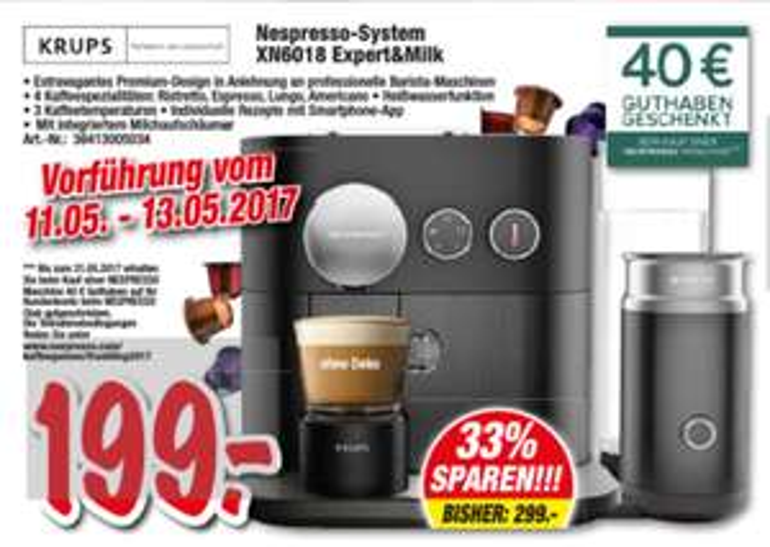 [lokal] Krups Nespresso XN6018 Expert & Milk @Technoland Deizisau