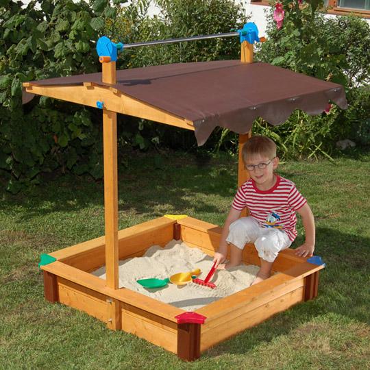 """Gaspo™ - Holz-Sandkasten """"Felix"""" (mit Dachlift,100x100x130cm) ab €44,95 [@Real.de]"""