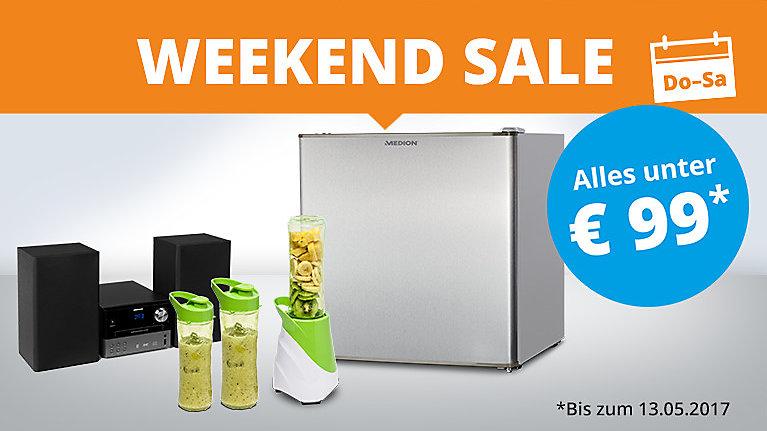 Medion Weekend Sale z.B. Medion E4503 Smartphone (4,5 Zoll, 3G, 5 MP Kamera, Android 5.0) 69,95 €, Mikrowelle mit 800 W & 1000 W Grillleistung 59,95 € oder DAB+ Unterschrank Internetradio 89,95 €, HP Wlan Drucker 79,95 €