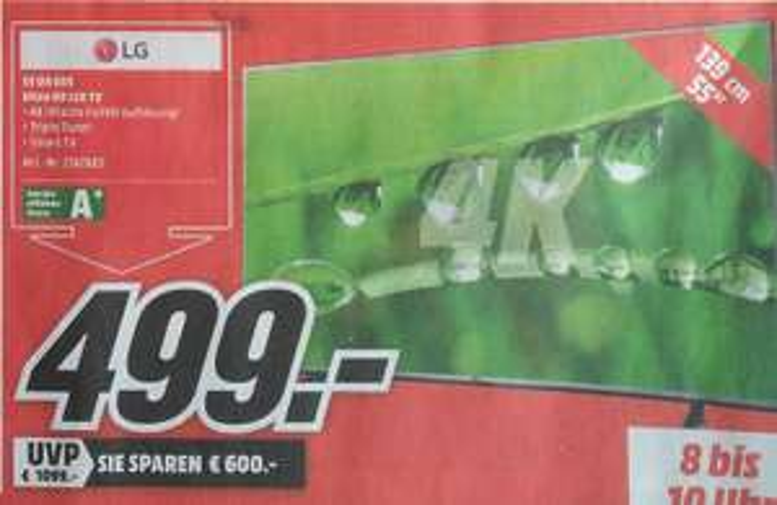 [Lokal Heilbronn Media Markt 13.05. 8-10 Uhr] LG 55UH605 UHD LED TV für 499€ (Vgp: 619€), Philips FC8577/09 Performer Bodenstaubsauger für 77€ (Vgp: 170€)