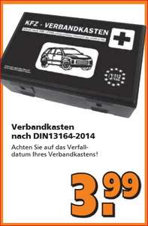 [Globus Baumarkt] KFZ-Verbandkasten nach DIN 13164-2014 für 3,99 Euro