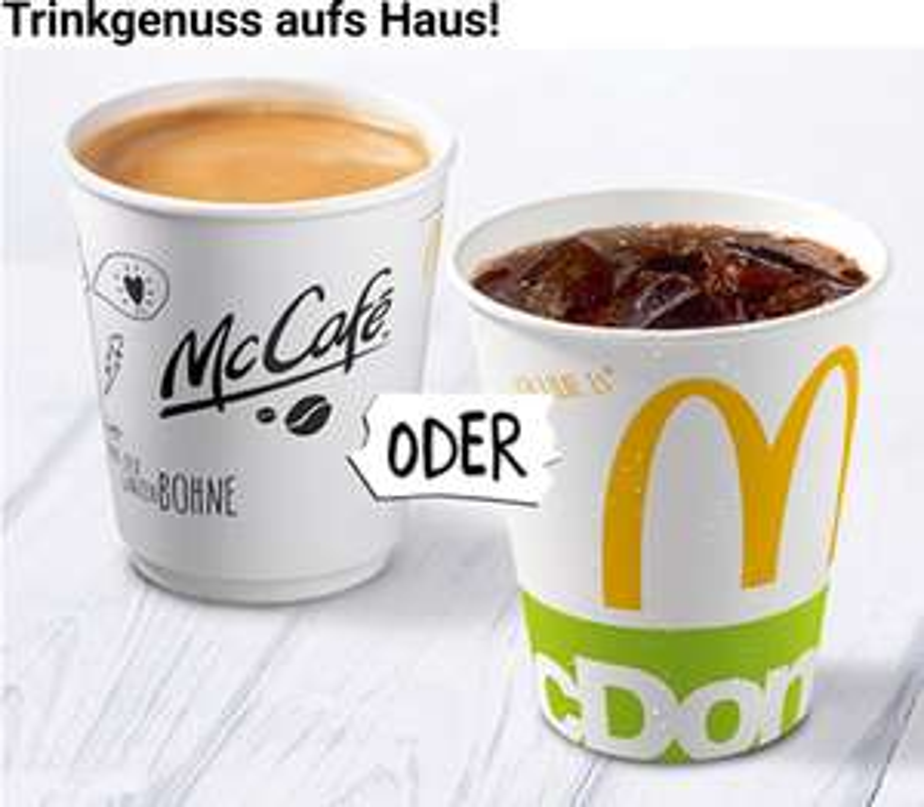 Kostenloses Kaltgetränk oder Kaffee bei McDonalds