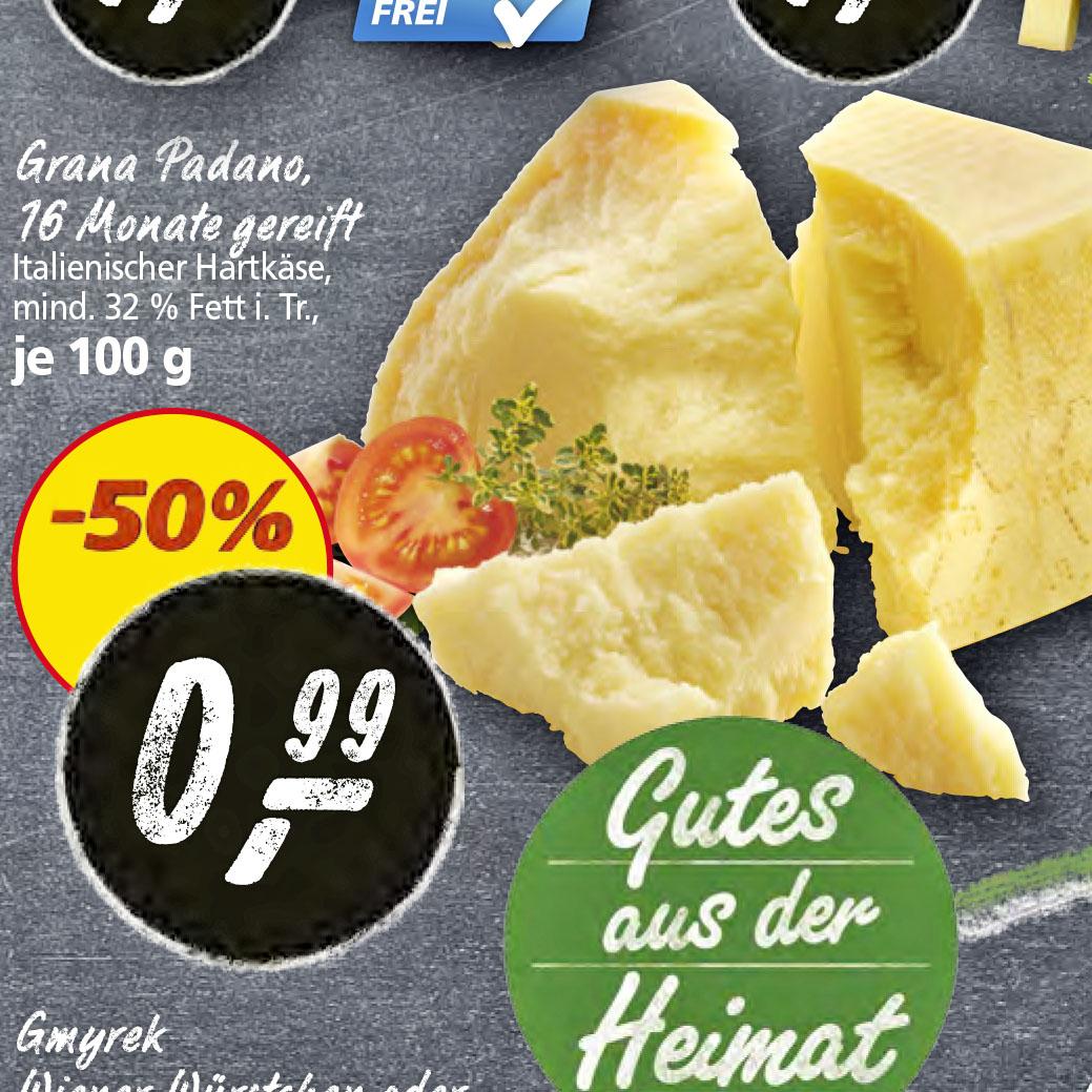 Alles Käse, Grana Padano zum halben Preis von nur 0,99€/100g [Real]