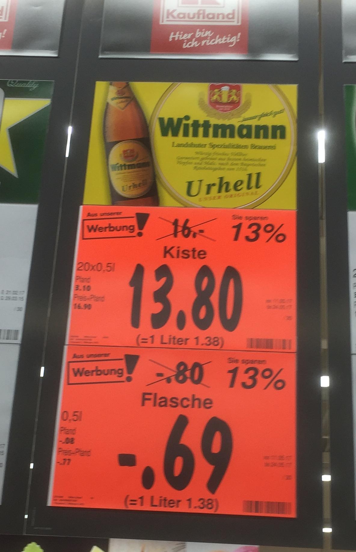 Bier Wittmann Urhell [Kaufland Landshut]