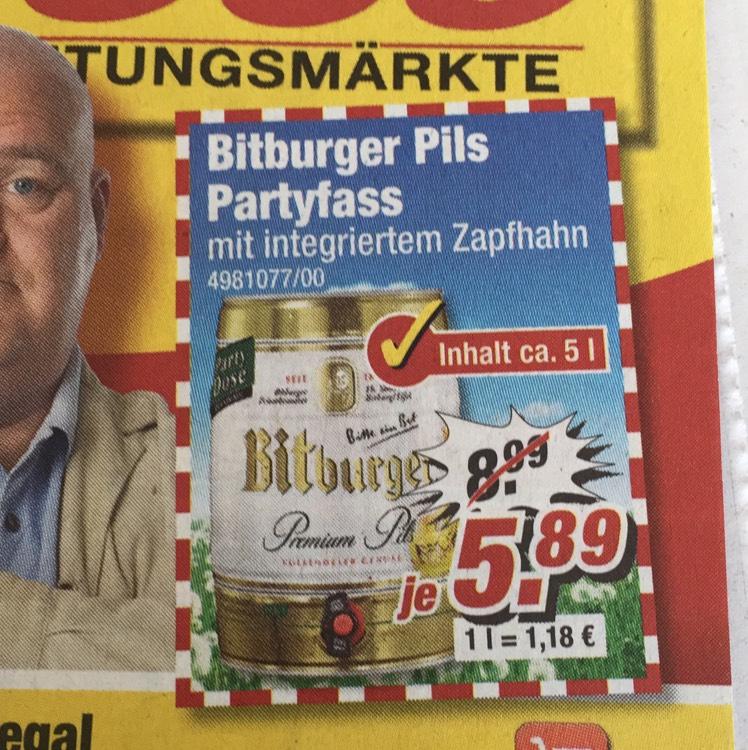 Bitburger 5 Liter Dose bei Poco 5,89€
