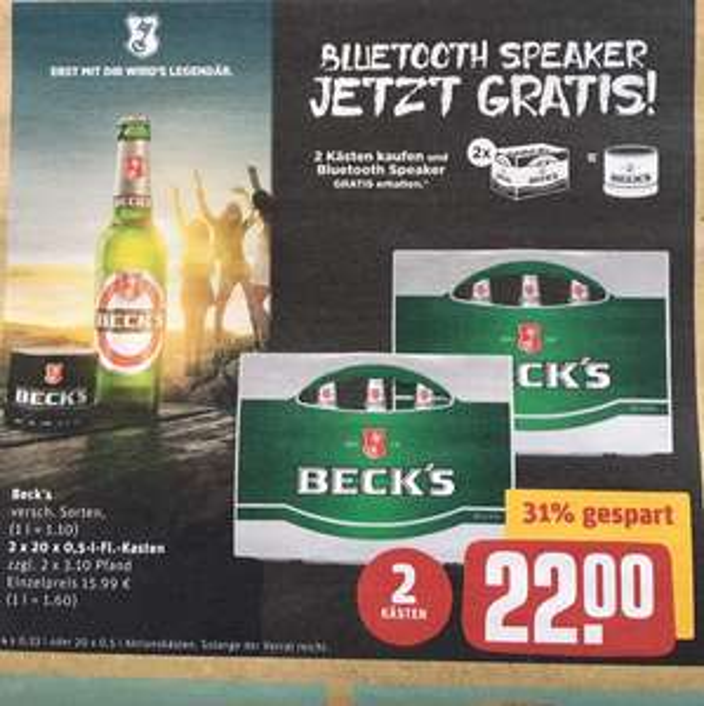 [REWE Bundesweit] 2 Kästen Becks + Bluetooth Box