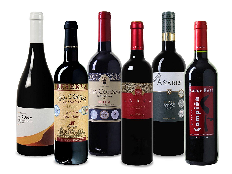 [Prime] Wein Probierpaket erlesene Rotweine aus Spanien Trocken (6 x 0.75 l)