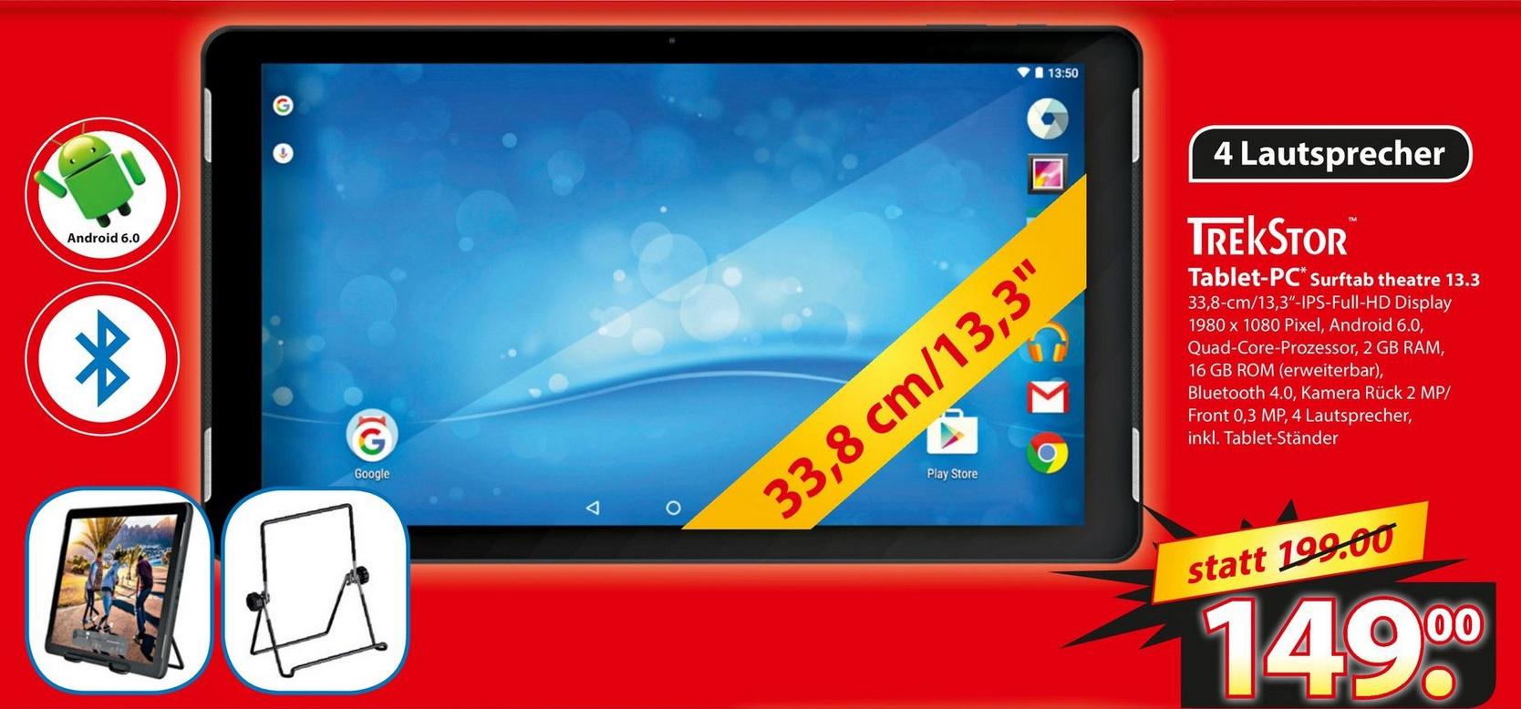 [lokal Langenhagen] TrekStor SurfTab Theatre 13.3 WiFi Tablet 16GB inkl. Ständer für 149,00€ @ famila