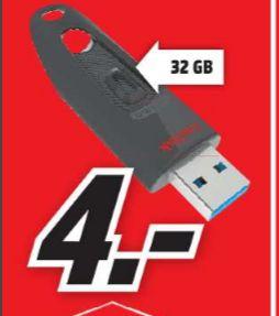 [Lokal Mediamarkt Amberg-Tagesangebot am 15.05] SanDisk Ultra 32GB USB-Flash-Laufwerk USB 3.0 bis zu 100MB/Sek für schlanke 4,-€