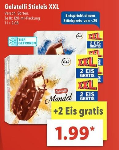[Lidl Supersamstag am 20. Mai] 8x Gelatelli Stieleis XXL-Pack für 1,99 Euro (25ct / Stk.)