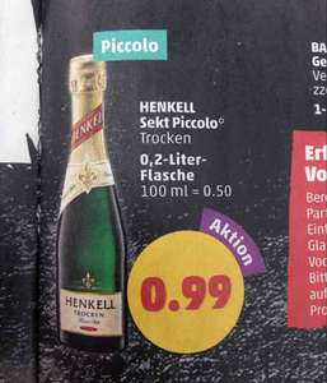 Henkell trocken Piccolo 0,2l - 0,99€ @Penny