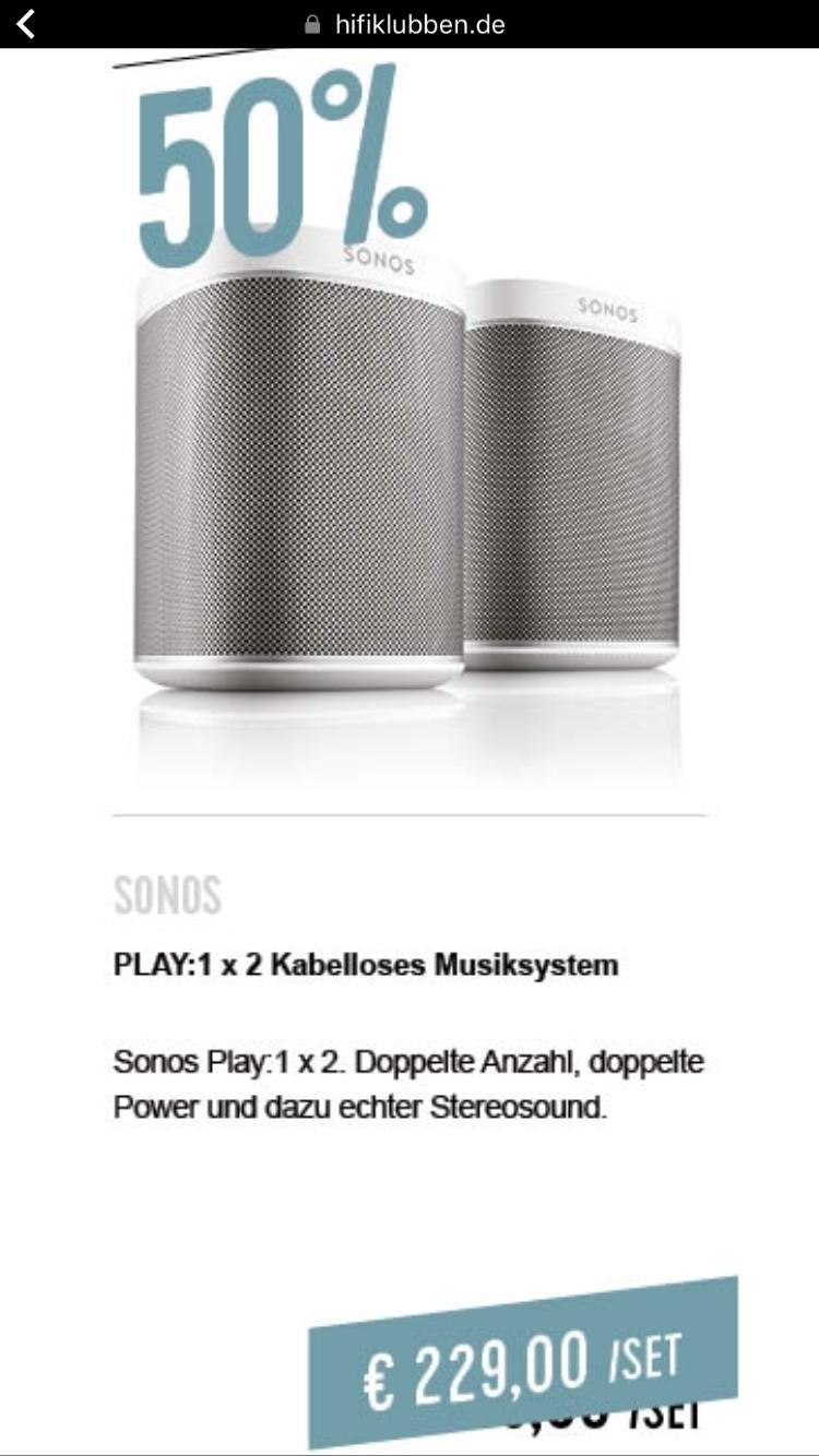 (Lokal Hamburg) 2 x Sonos Play:1 für 229 Euro