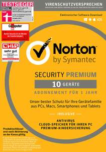 AMAZON: SYMANTEC Norton Security Premium (10 Geräte / PC-MiniBox)