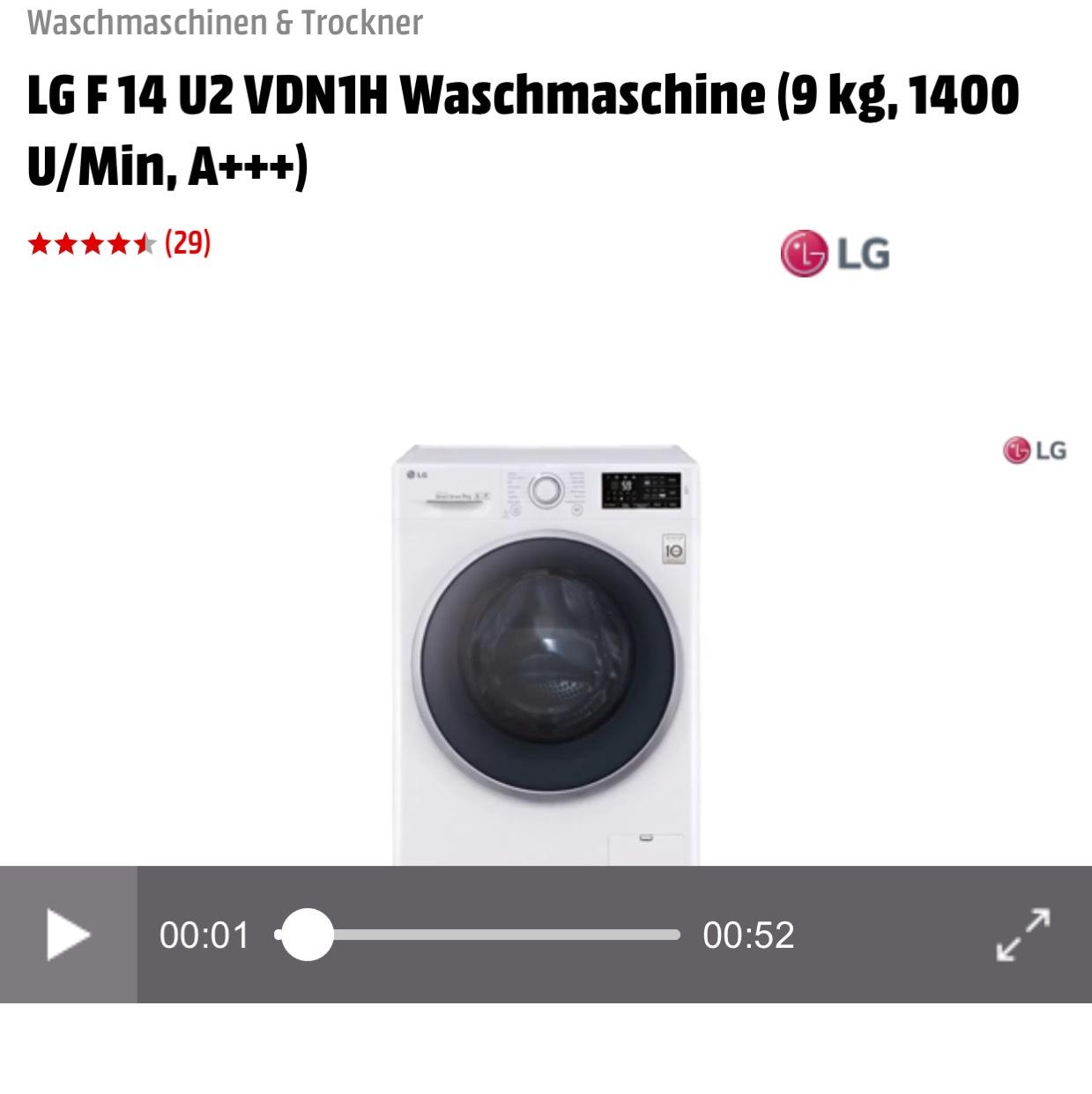 Wieder da bei Mediamarkt LG F 14 U2 VDN1H Waschmaschine (9 kg, 1400 U/Min, A+++)