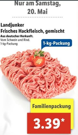 [LIDL] 1kg Familiepackung Hackfleisch <3 oder 500g @NettoMD + Kaufland