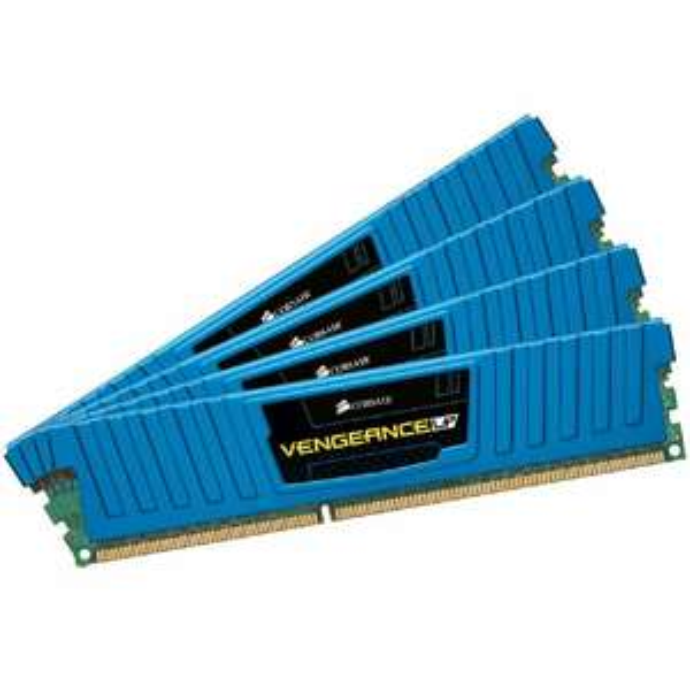 Corsair CML32GX3M4A1600C10B Vengeance Low Profile 32GB (4x8GB) DDR3 1600 Mhz CL10 XMP Performance Desktop Memory Blau