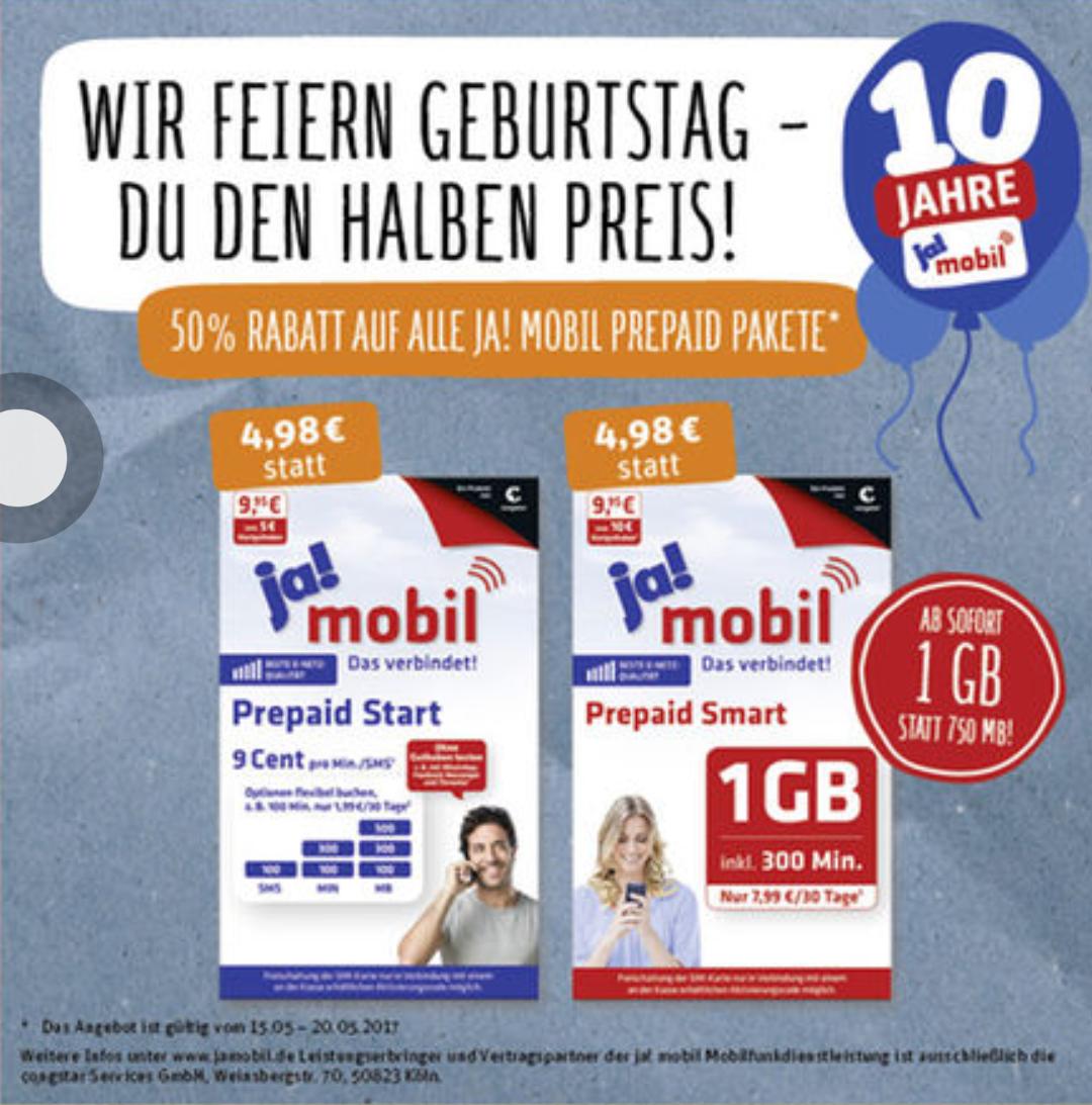 Rewe (offline): 50% Rabatt auf alle Ja! Mobil Prepaid Pakete