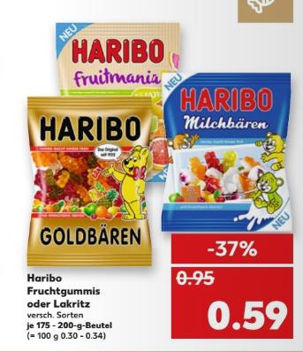 Kaufland Haribo colorado dealpreis = angebot + coupon ca 1,7€/kg