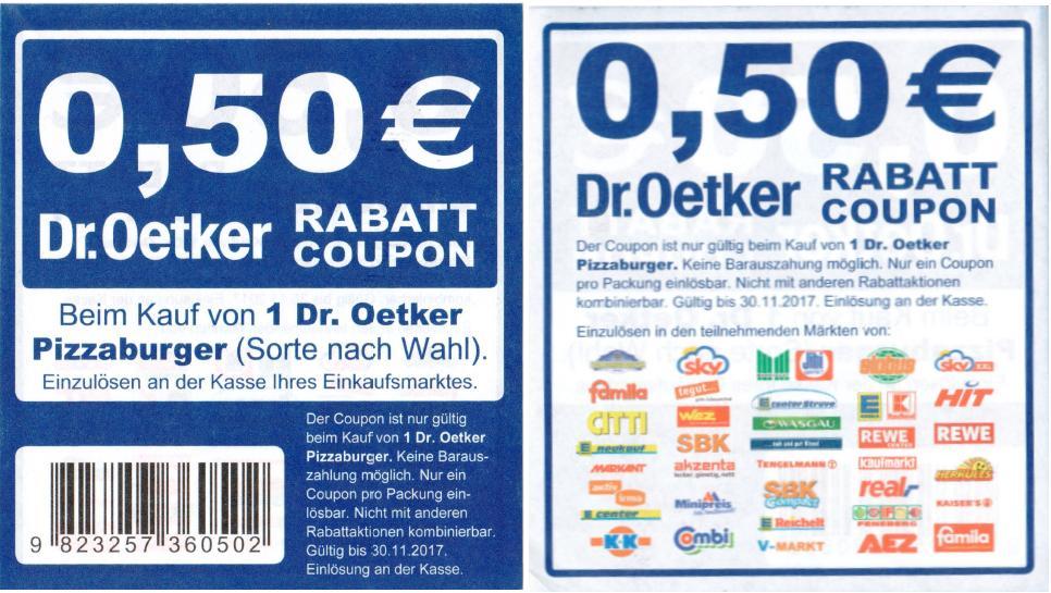 Neuer -0,50€ Sofort-Rabatt-Coupon auf Dr. Oetker Pizzaburger [Bundesweit]