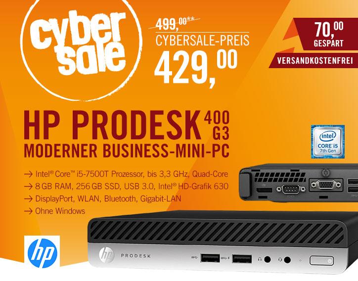 HP ProDesk 400 G3 - Business Mini-PC mit Core i5-7500T, 8GB Ram und 256GB SSD