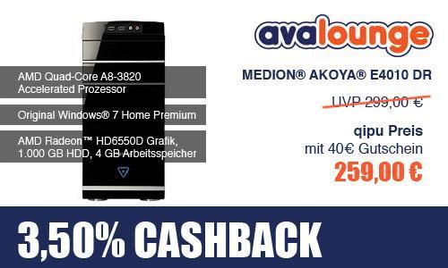 MEDION AKOYA E4010 DR Desktop Pc mit AMD Quad-Core Cpu und 1 TB Festplatte für 259€ + 3,5% Cashback!