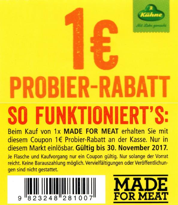 """Neuer -1,00€ Sofort-Rabatt-Coupon auf Kühne """"Made For Meat"""" Saucen bis 30.11.2017 [Bundesweit]"""