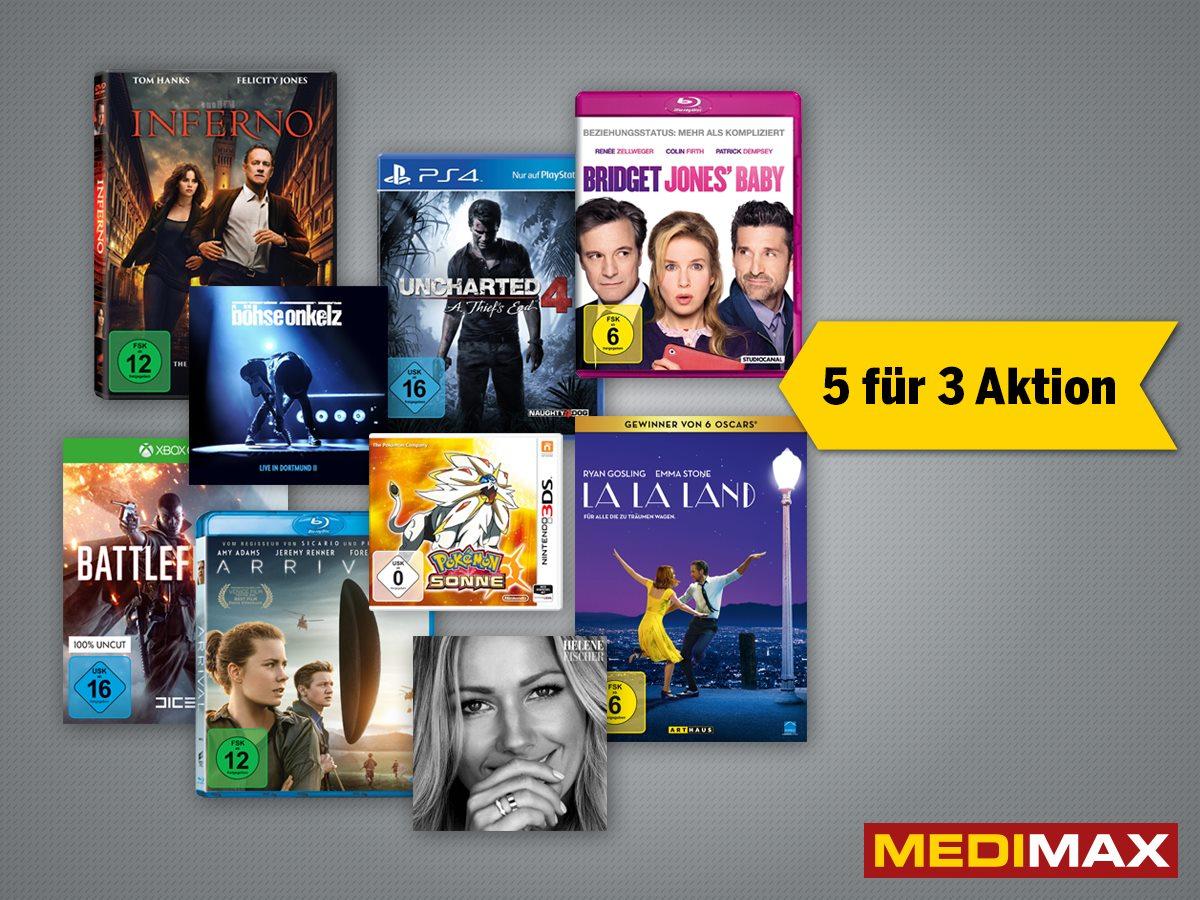 5 für 3 Aktion bei MEDIMAX (Dortmund) PS4, xBOX , Blue Ray usw.