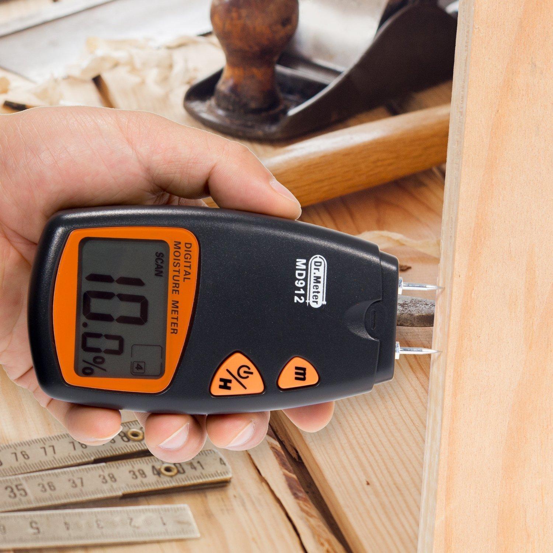 MD912 Tools Digitaler Feuchtigkeitsmesser für Holz, Sheetrock, Teppiche, 2-Pin-Sensor