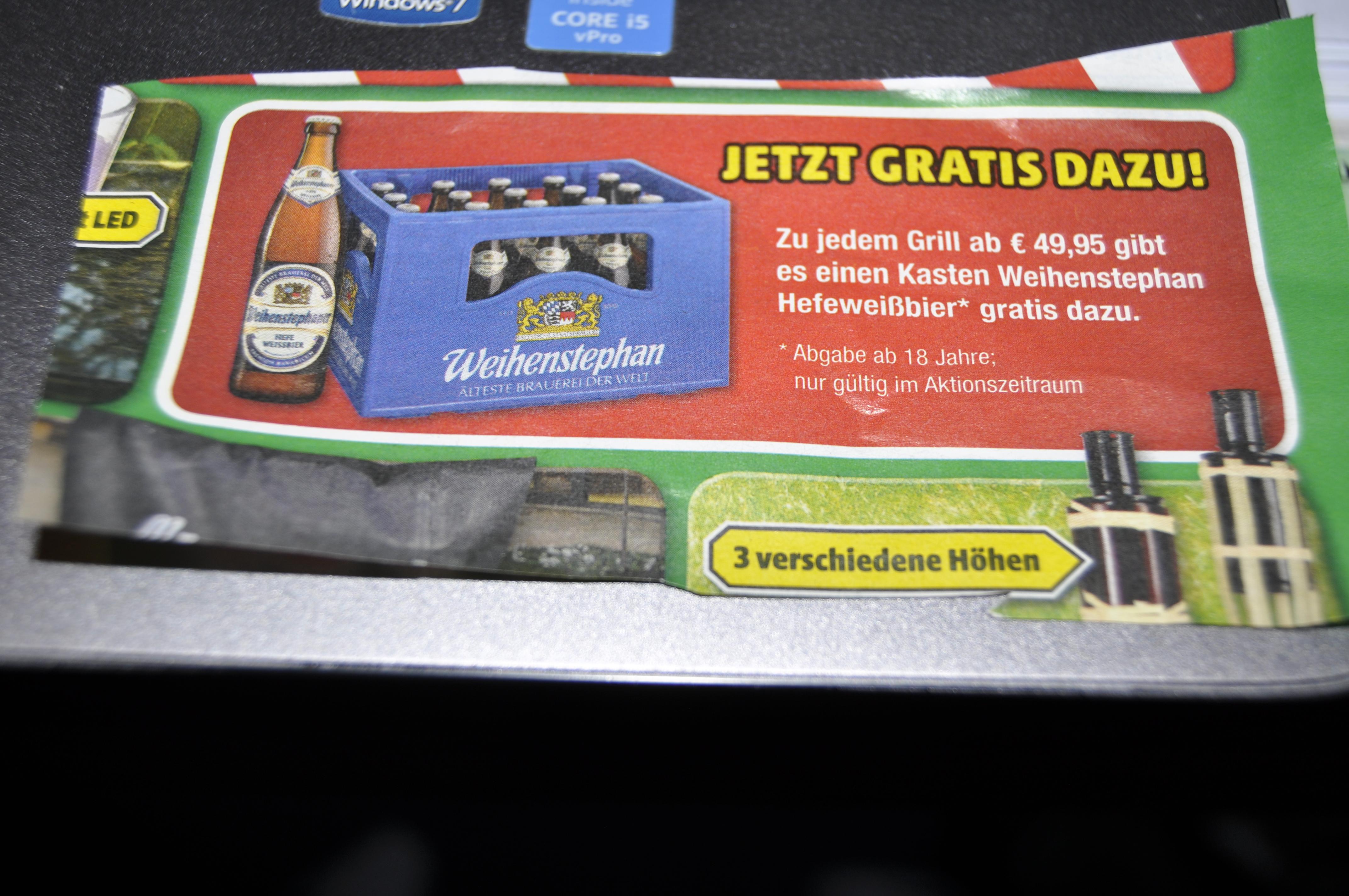 [Lokal München und Umgebung] bei Kauf eines Grills im Wert von mind. 49,95€ eine Kiste Weihenstehphan Hefeweißbier gratis dazu bekommen [Hagebau]