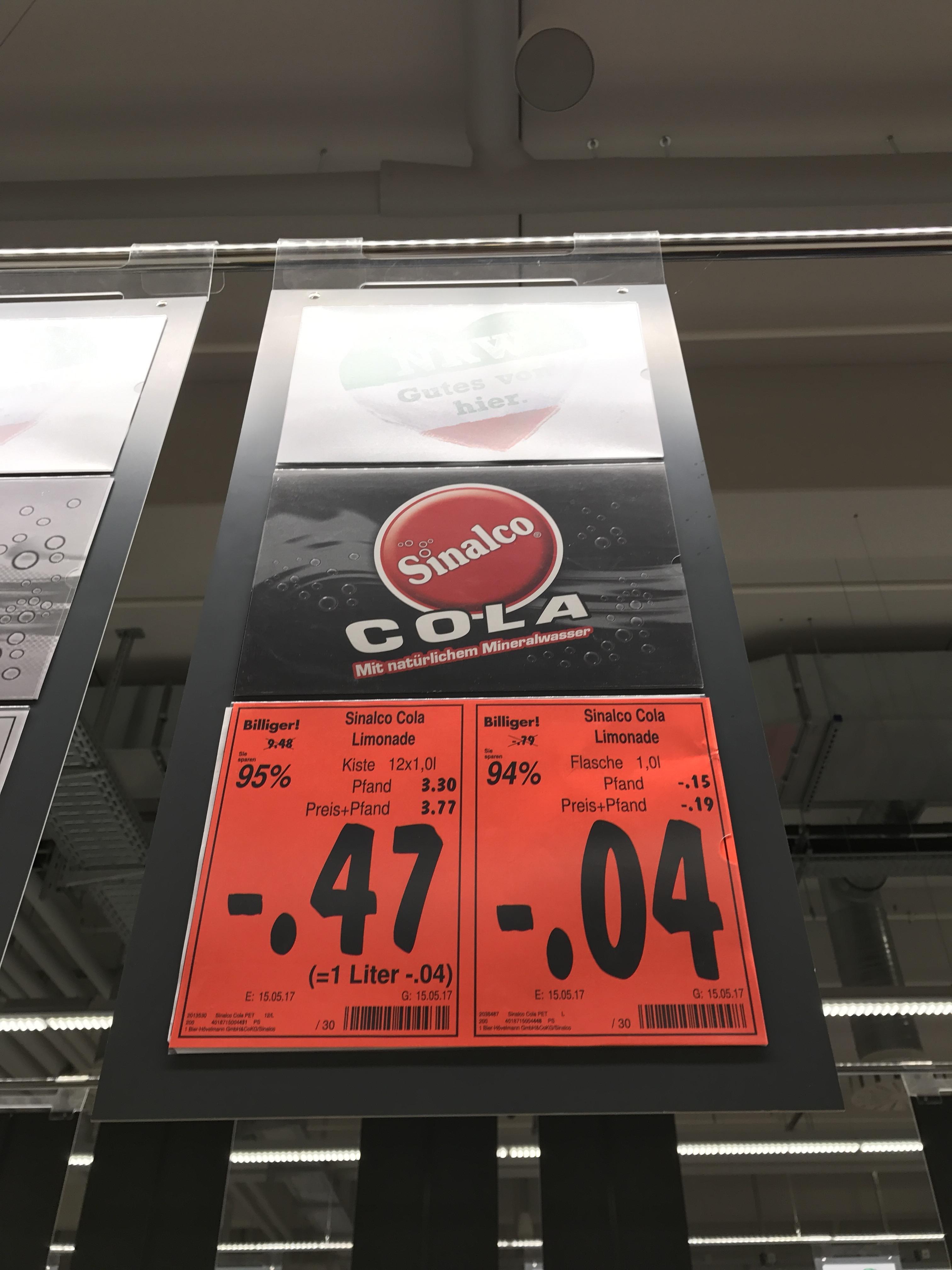 [lokal Kaufland Dorsten] Sinalco Cola MHD-Ware 0,04€/1l
