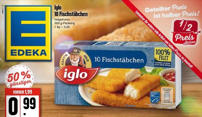 [Lokal] Edeka Hamburg/Schleswig-Holstein/Mecklenburg-Vorpommern - IGLO Fischstäbchen - 10 Stück für 0,99€